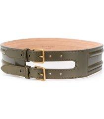 alexander mcqueen double strap belt - green