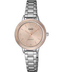 reloj para dama elegante q&q qb89j202y fondo oro rosa