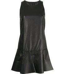balenciaga pre-owned sleeveless leather mini dress - black