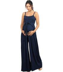macacã£o gestante pantalona whyalla zen marinho - azul marinho - feminino - viscose - dafiti