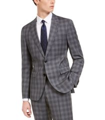 hugo by hugo boss men's slim-fit dark gray plaid wool suit separate jacket