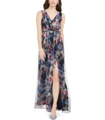 adrianna papell v-neck chiffon gown