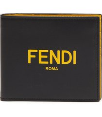 contrast interior logo print leather bifold wallet