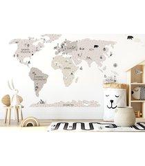 mapa świata beżowa - naklejka na ścianę