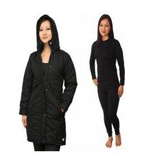 casaco feminino impermeável plus size + calça térmica segunda pele frio intenso, neve preto