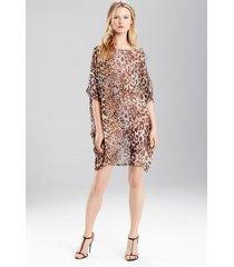 shadow leopard top pajamas, women's, grey, 100% silk, size s, josie natori