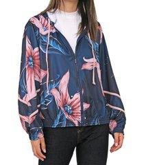 jaqueta coca-cola jeans floral azul-marinho/rosa