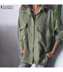 zanzea manga larga para mujer de apertura de cama botón de collar de down tops bolsillo de camisa de la blusa -verde claro