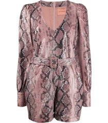 andamane leather look playsuit - pink