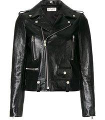 saint laurent polished classic motorcycle jacket - black