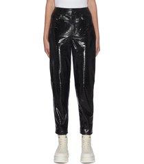 elsa' taper leg patent leather pants