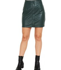 mini falda ecocuero botones decorativos verde nicopoly