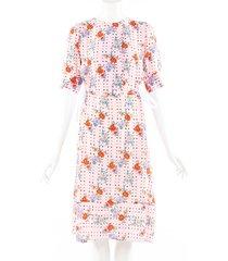 snow xue gao bushwick pink floral print silk dress pink/floral print sz: s