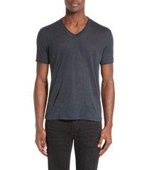 men's john varvatos linen slim fit v-neck t-shirt, size x-small - blue