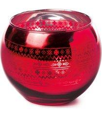 porta vela decoração natal redondo vidro 10cm cor vermelho