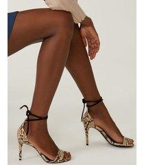 amaro feminino sandália amarração salto fino, cobra light tan