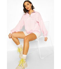 woman slogan rib neck zip sweatshirt, pastel pink