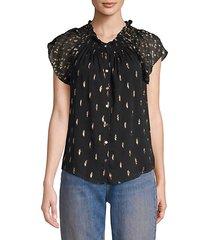 metallic polka dot ruffled button-down chiffon blouse