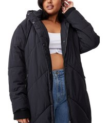 cotton on trendy plus size crinkle longline puffer jacket