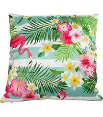 almofada em poliéster flamingo e flores ii 45x45cm verde
