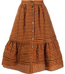 temperley london tamara checked seersucker a-line midi skirt - orange