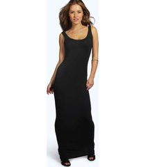 petite zanderige maxi jurk met lage ronde hals, black