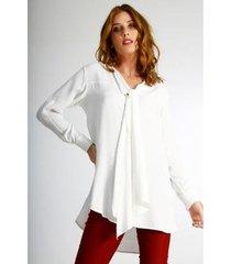 camisa alongada wool line tricot feminina