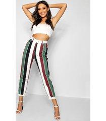 mid rise bold stripe straight leg jeans, multi