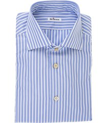 blue cotton classic button-up shirt