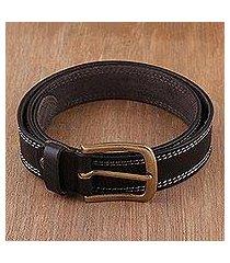 men's leather belt, 'classic onyx' (india)