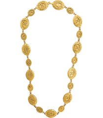 chanel pre-owned embossed medallions necklace - metallic