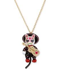"betsey johnson gold-tone sugar skull mariachi cat pendant necklace, 28"" + 3"" extender"