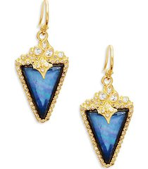 two-tone gemstone triangle drop earrings
