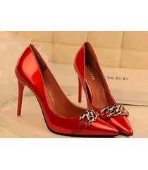pp330 amazing candy color pump w gold chain front  us size 4-8.5, red