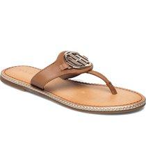 essential leather flat sandal shoes summer shoes flat sandals brun tommy hilfiger