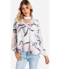 blusas de manga larga con diseño de abertura de hombro frío con estampado floral recortado en blanco