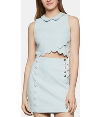 bcbgeneration scalloped-hem denim cropped top