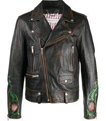 golden goose floral-print biker jacket - black