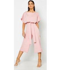 slash neck tie waist culotte jumpsuit, dusky pink
