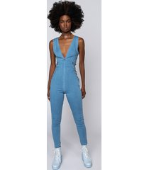 akira take your time lace up denim jumpsuit