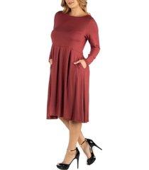 24seven comfort apparel midi length fit n flare pocket plus size dress