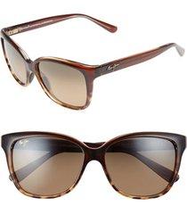 women's maui jim starfish 56mm polarizedplus2 cat eye sunglasses - clear chocolate/ tortoise