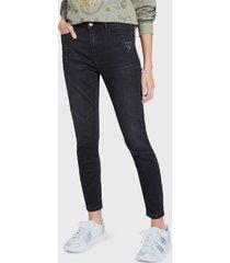 jeans desigual denim trousers negro - calce ajustado