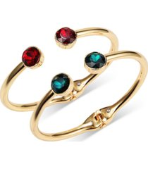 inc gold-tone 2-pc. set red & green crystal cuff bracelets, created for macy's