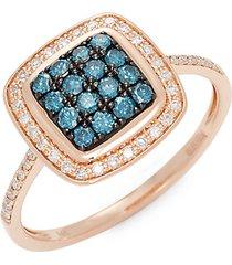 14k rose gold blue & white diamond square ring