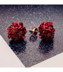 orecchini a forma di fiore elegante orecchini a sfera stub in lega rosa orecchini a forma di donna