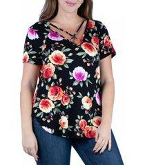 24seven comfort apparel women's plus size floral criss cross neckline shirt