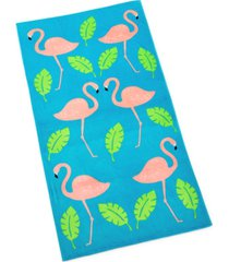 martha stewart collection flamingo beach towel, created for macy's bedding