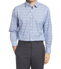 men's big & tall nordstrom traditional fit floral stretch non-iron dress shirt, size 17.5 - 36/37 - blue