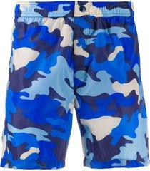moncler camouflage-print swim shorts - blue